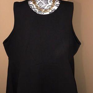 Eloquii Black Sleeveless Asymmetrical Dress